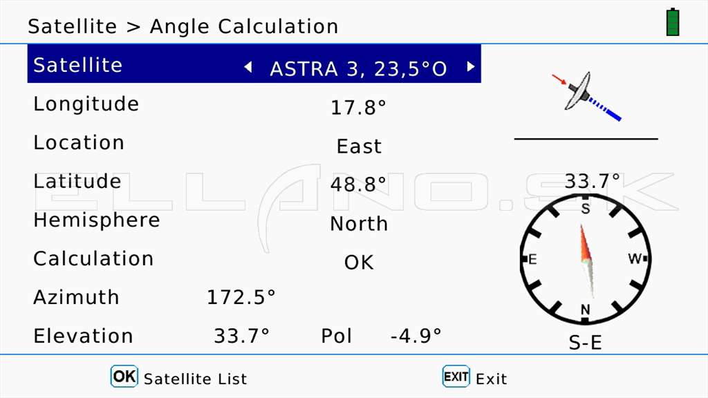03 Astra 3B 23.5E Calculation