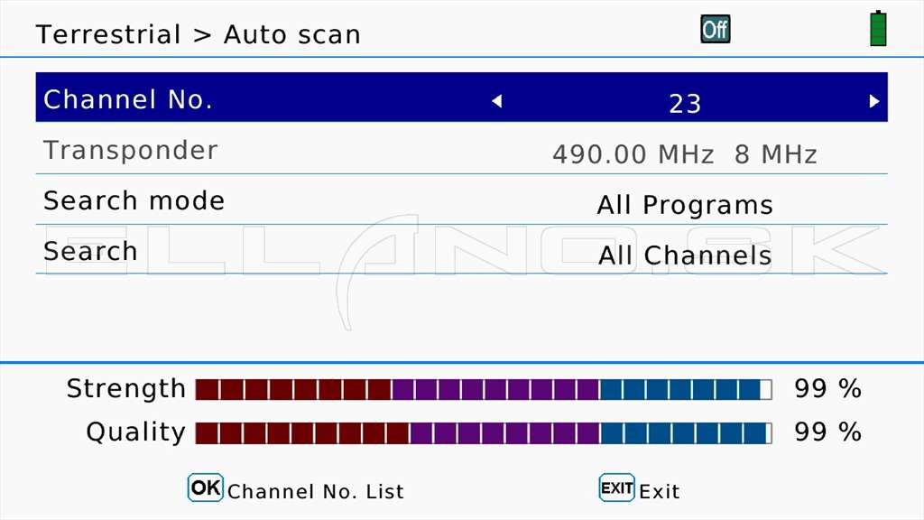 12 Terrestrial Auto Scan sel channel